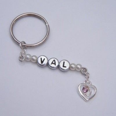 Pink Sparkle Swirl Heart Personalised Keyring